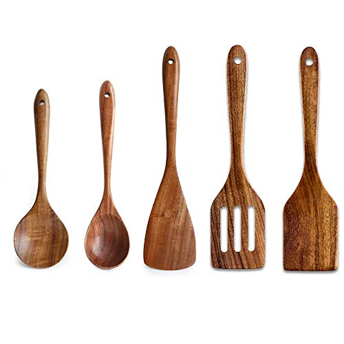 5 Pcs Luxury Wooden Kitchen Utensils Spoons Non Stick Spatula Cooking Utensils Set-Best Wood Spatula Paddle, Slotted Spatula, Angled Turner Spatula, Serving Cooking Spoon & Mixing Spoon Utensil