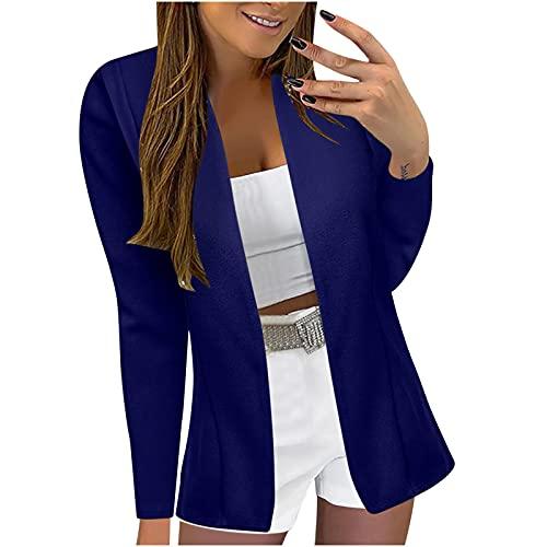 Briskorry Damen Elegant Langarm Blazer Sakko Bedruckter Einfarbig Slim Fit Revers Geschäft Büro Jacke Mantel Anzüge Bolero mit Tasche