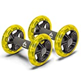 RBX Ab Roller Wheel with Cushioned Ergonomic Handles for Abdominal & Core Strength Workout, for Home, Office, Traveling, Set of 2, Yellow