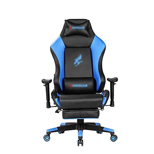 Silla de juegos, silla de oficina, silla de escritorio, diseño ergonómico con cojín y respaldo reclinable, color azul
