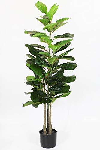 Ficus Lyrata Planta Artificial (115 cm) Árbol Artificial Planta de Interior Planta Verde con Maceta Decorativa