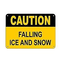 アルミメタルノベルティ危険サイン注意落下氷と雪、ヴィンテージルック再現メタルサインホームウォールアートデコレーションポストプラーク女性男性用
