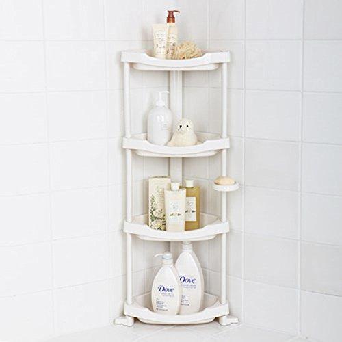 Tenby Living Corner Shower Caddy - 4 Shelf Shower Organizer Caddie with Movab.