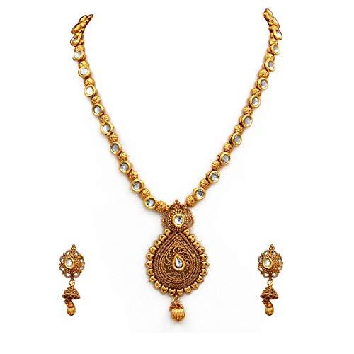 JewelryGift Elegante collar étnico chapado en oro con circonita cúbica tachonada étnica india rica joyería de diseñador para mujeres y niñas