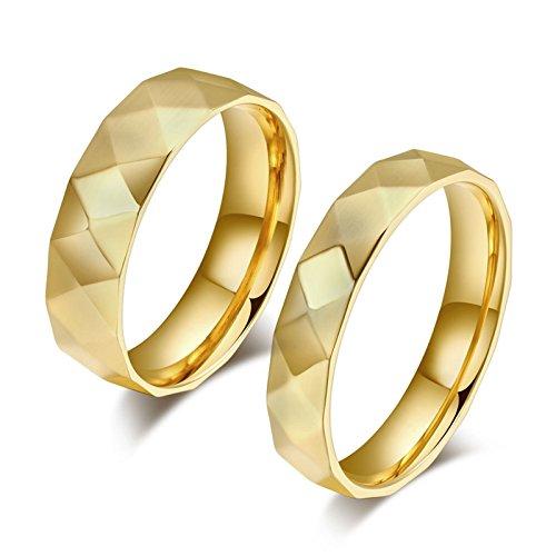 ROMQUEEN JOYERÍA 2 Piezas Anillo de 6MM/4MM Anillos de Diamante Anillos Compromiso Baratos Oro Blanco Anillo Mujer/Hombre de Oro(la Talla Mujer:15 & Hombre:20)