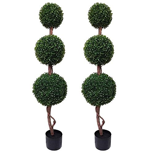 GreenBrokers Triple Ball Artificial Boxwood Topiary Trees 4ft/120cm-Best Quality (Pack of 2), Green,...