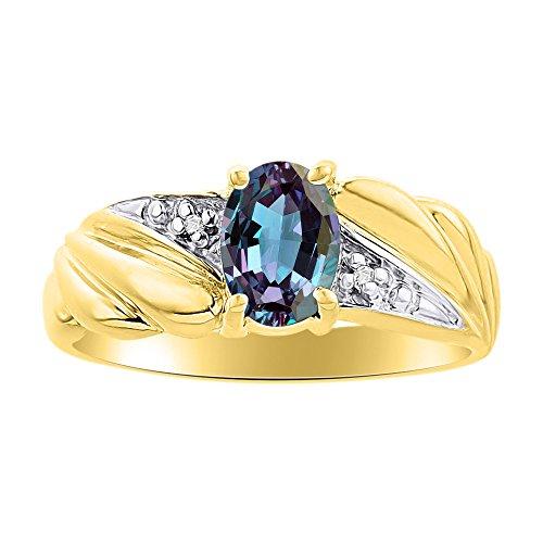 Diamante & Simulado Alexandrite anillo Set en oro amarillo de 14 K piedra de nacimiento