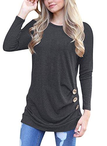 JomeDesign Women's Long Sleeve Casual T-Shirt Tunic Top Blouse Plus Size,Grey,XL
