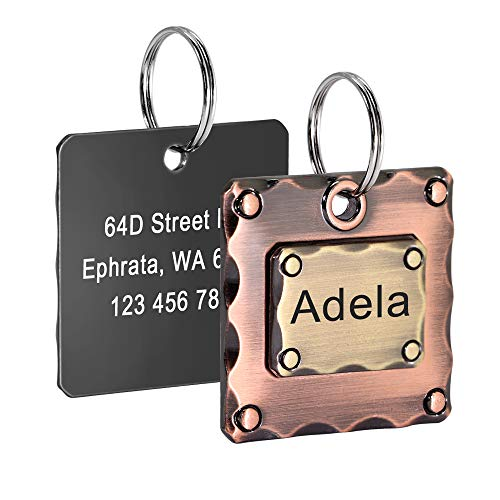 Didog Personalized Dog ID Tags, Double Side Engraved Custom Pet Nameplate, Classic & Durable Cooper Alloy Tags for Medium Large Dogs,Rose Gold