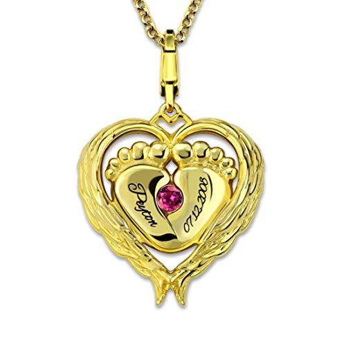 Stɑy Real Namenskette Silber 925 Personalisierte Mutter Tochter Geburtsstein Kette Baby füße Herzkette Anhänger Halskette mit Gravur Geschenk für Mutter und Tochter (45,Gold)