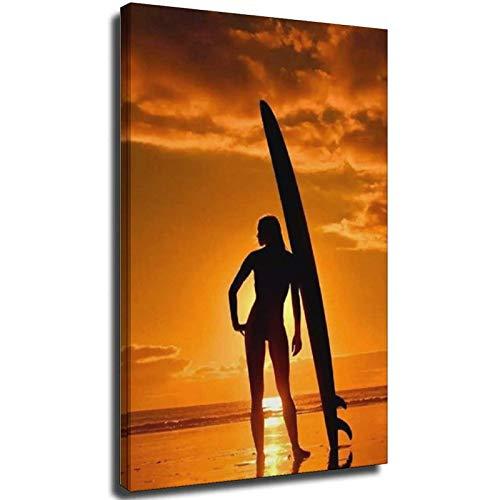 Cuadro de surf con tabla de surf y deportes acuáticos en lienzo, póster y arte de la pared moderno para la decoración del dormitorio familiar, carteles sin marco, 20 x 30 cm