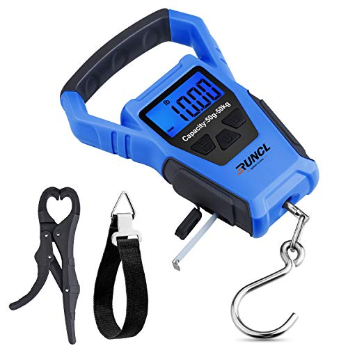 RUNCL Waterproof Fishing Scale with Fish Gripper, Digital Scale with Ruler, Weight Scale 110lb/50kgs - Backlit LCD Display, Memory Storage & Summation...
