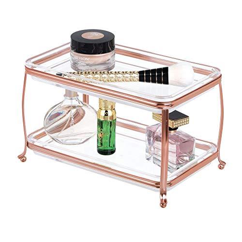 mDesign - Make-up-organizer - 2 etages - decoratief - voor badmeubels - voor make-upkwasten/oogschaduwpaletten/lippenstift/parfum/sieraden - roségoud/doorzichtig