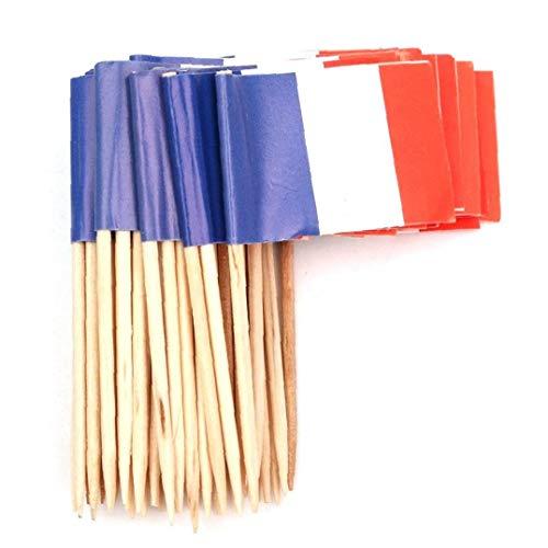 Berrywho 100pcs Papier Frankreich Flagge Picks Mini Fruit Cocktail Essen Zahnstocher Sticks Flagge
