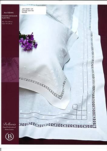BELLAVIA RICAMI Elegante juego de sábanas para cama de matrimonio de puro lino (sin sábana bajera) con preciosos gigliuces, Ajour y bordados realizados a mano Art. NB495LZM col. blanco