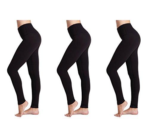 Damen Leggings (3 Pack) FM Damen Sport oder Casual, Thermische schwarze Legging