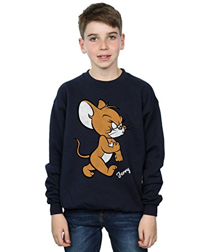 Absolute Cult Tom and Jerry Jungen Angry Mouse Sweatshirt Navy Blau 7-8 Years