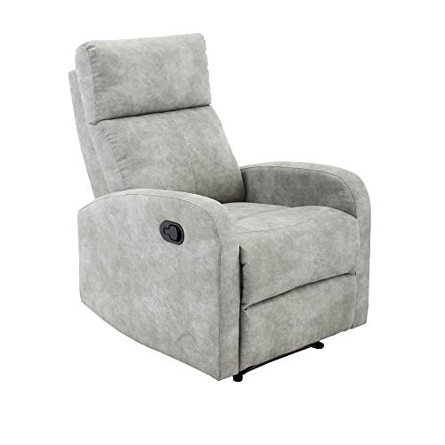 MOMMA HOME Sillón Relax reclinable - Modelo TAVIRA - Color Jade Gris - Sillón Reclinable - Material Tela/Metal
