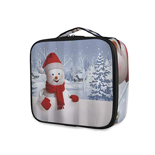 SUGARHE Weißer Schneemann mit dem süßen Lächeln, das roten Hut und Schal-Winterurlaub-frohen Weihnachten Eve Cute trägt,Kosmetik Reise Kulturbeutel Täschchen mit Reißverschluss