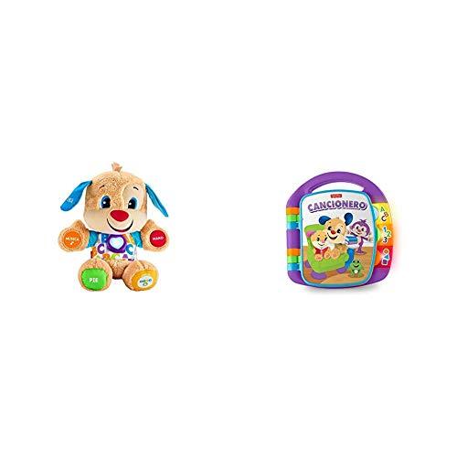 Oferta de Fisher-Price Perrito Primeros descubrimientos, Juguete bebé +6 Meses (Mattel FPM53) + Libro Interactivo de Aprendizaje, Juguete bebé +6 Meses (Mattel FRC69)