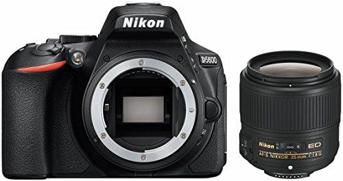 Nikon D5600 + AF-S DX 35 mm 1:1,8 Juego de cámara SLR 24,2 MP CMOS 6000 x 4000 Pixeles Negro - Cámara Digital (24,2 MP, 6000 x 4000 Pixeles, CMOS, Full HD, Pantalla táctil, Negro)