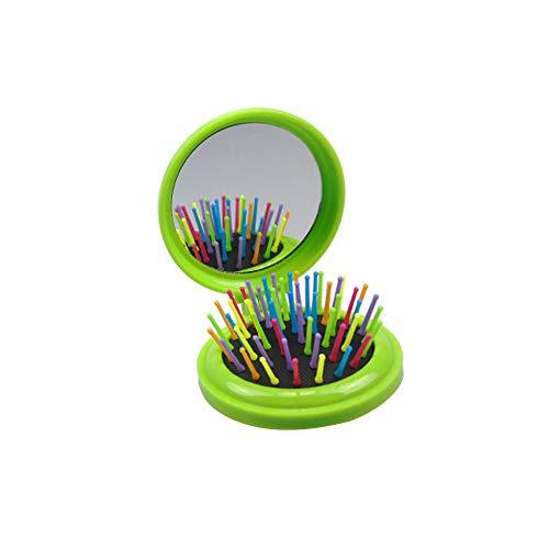 Pliant Peigne ronde en plastique portable Brosse à cheveux avec miroir pratique pour les Voyage et en plein air Coussin d'air Brosse de massage couleur aléatoire