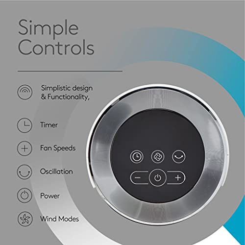 Climatik 43-inch Tower Fan | Ultra Quiet | Internal Oscillation with 6 Speed Settings | Includes Remote, 12-hour Timer With Three Modes Regular, Natural Breeze & Night | Perfect For The Home & Office