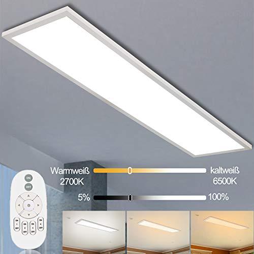 Dimmbar LED Deckenleuchte Panel mit Fernbedienung 120x30cm, Thanger 40W Hängende Super Deckenpanel Licht mit Starker Leuchtkraft, Werkstattlampe, Garagelampe, Bürolampe 4000K für Innenbeleuchtung