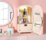 TTLIFE Mini Nevera, 12l Mini Refrigerador Portátil Ac/Dc Nevera Para El Cuidado De Belleza Con Iluminación Incorporada y Cajones Extraíbles, Para Bebidas/Cosméticos/Maquillaje/Cuidado De La Piel