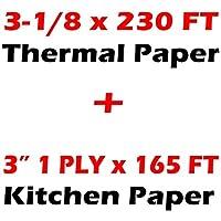 3インチ 165フィート 1プライボンド紙 KITCHEN PRINTER PAPER + THERMAL PAPER ホワイト