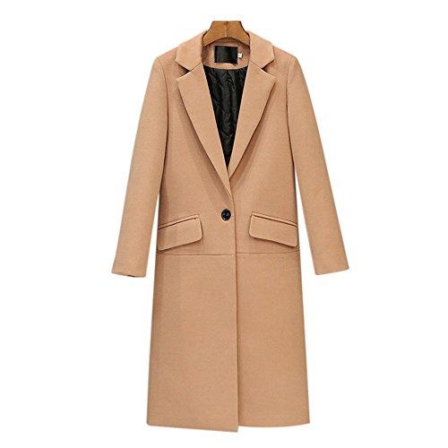 GETUBACK Women Trench Coat Long Sleeve Pea Coat Open Front Long Jacket Overcoat Outwear (Camel, XX-Large) Alabama