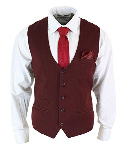 Mens Slim Fit Bourgogne Maroon Noir Chevrons Tweed Vintage Retro Waistcoat