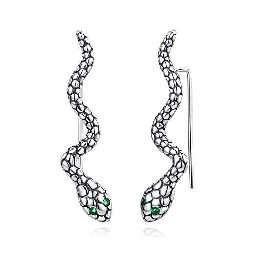 Pendientes vintage de plata de ley con forma de serpiente de hoja de pluma para mujer (serpiente)