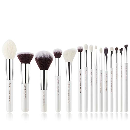Jessup Make-up-Pinsel, beschriftet, Make-up-Pinsel-Set, Premium-Kunsthaar und Naturhaar, Foundation, Puder, Concealer, Lidschatten, Blending 15-teiliges Pinsel-Set, Silber/Perlweiß T240