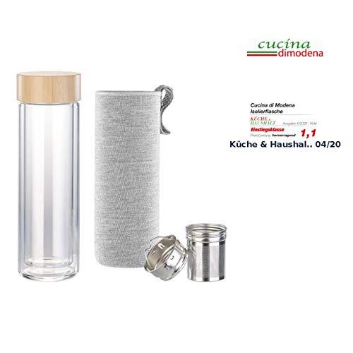 Cucina di Modena Teeflasche: Doppelwandige Glas-Trinkflasche mit Neopren-Hülle & Tee-Sieb, 400 ml (Isolierflasche)