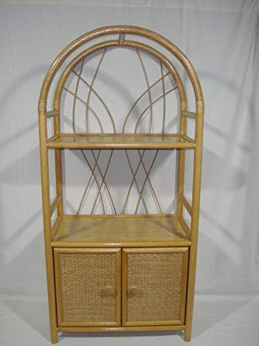 Estantería de ratán, fabricada en Alemania, arcos redondos con puertas, color miel
