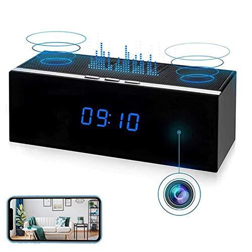 GEQWE Cámara Espía Bluetooth Audio, WiFi 4K HD Cámara con Altavoz Inalámbrico Secreto Invisible Seguridad para El Hogar Habitación Inalámbrica Mini Cámara CCTV