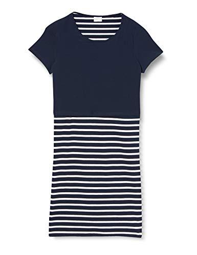 MAMALICIOUS Mllea Org June S/s Y/d Abk Dress A.Noos Vestido, Rayas: Blanco Nieve Blazer Azul Marino, L para Mujer