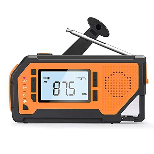 ZHBY Radio Meteorologica di Emergenza, Portatile AM/FM/SW/NOAA SOS Radiosveglia, con Torcia, Lampada a LED, Caricabatterie per Cellulare e Manovella Solare (Colore : Orange)