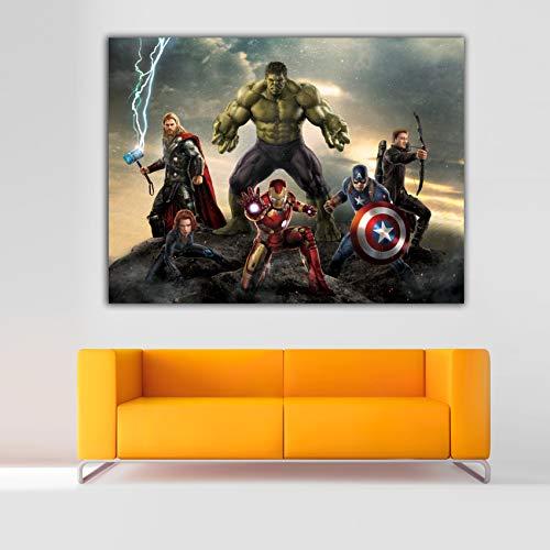 Cuadro Lienzo Superheroes Marvel Avengers Vengadores – 37x50 cm - Lienzo de Tela Bastidor de Madera de 3 cm - Fabricado en España - Impresion en Alta resolucion