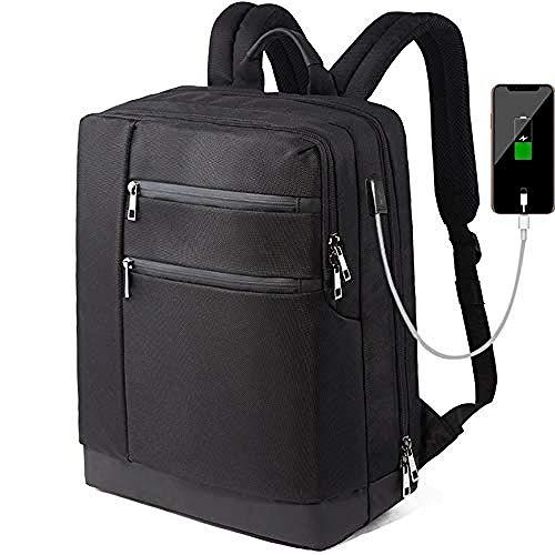 Mochila nevera,Mochila para computadora portátil para hombre 15 Bolsa para computadora de 6 pulgadas con puerto de carga USB Mochila para hombro en el pecho Bolsas cruzadas antirrobo Mochila multipropósito @ 40 * 14 * 30 cm_Negro
