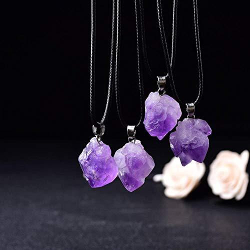 DANHUI Venta al por Mayor Amatista Natural Colgante Cristales crudos Reiki Healing Stone Rock Mineral Charm para Hombres Mujeres Regalos de joyería 1pcs (Color : Amethyst, Size : 1PCS)