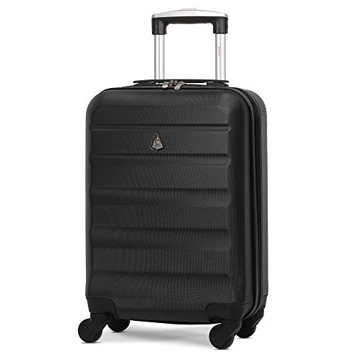 Aerolite Lightweight 55cm Hard Shell 4 Wheel Travel Carry On Hand Cabin Luggage Suitcase Black Approved for easyJet British Airways Ryanair
