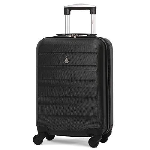Aerolite Leichter ABS Hartschale 4 Rollen Handgepäck Trolley Koffer Bordgepäck Reisekoffer Gepäck, easyJet, Lufthansa, Jet2 und Mehr, Schwarz