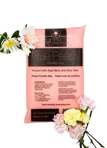 Paraffin Wax refill by Fleur De Spa, 6 lbs bulk, True Peach, Infused with Acai, Coconut oil, Jojoba and Aloe