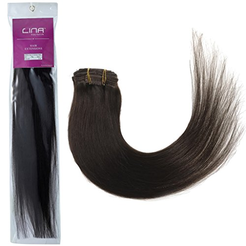 """Lina 15"""" 7Pcs Women Human Hair Clip In Silky Soft Straight Extensions #2 Dark Brown"""