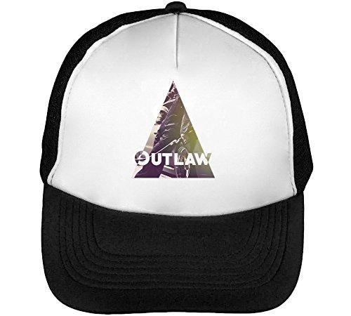 Outlaw Filling Up Gas Mask Cool Phrases Men's Baseball Trucker Cap Hat Snapback Black White