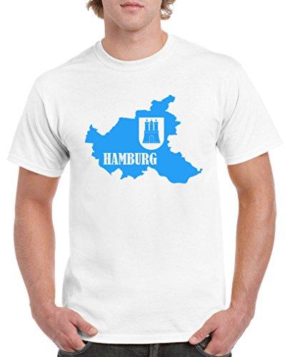 Comedy Shirts - Hamburg Landkarte mit Wappen - Herren T-Shirt - Weiss/Blau Gr. XL