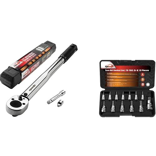 EPAuto 1/2-inch Drive Click Torque Wrench + EPAuto Torx Bit Socket Set, Star Socket T8-T60