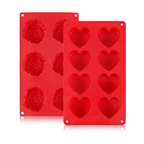 Silicone Muffin Pan Chocolate Molds Heart Rose Shaped Silicone Baking Molds for Christmas,Valentine's Day , Mother's Day Making Hot Chocolate Bomb,Egg Muffin,Cake,Jelly,Mousse,Pack of 2 (Red)